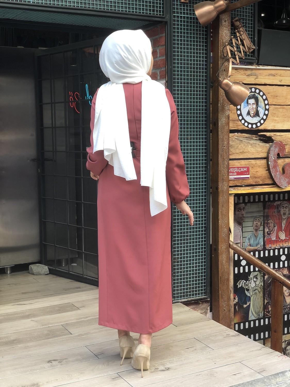 ELBİSE BALON KOL KEMERLİ